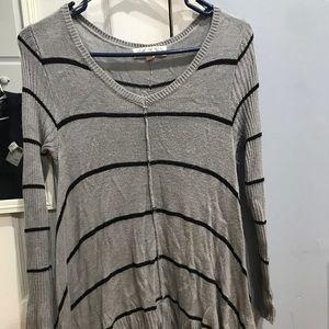 Sweaters - Gray & black striped sweater